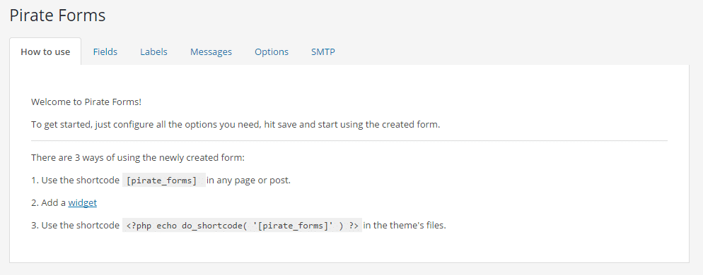 Pirate Forms display options