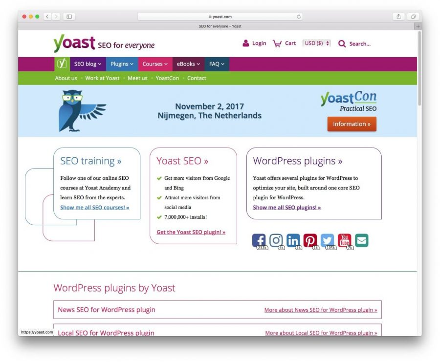 Screenshot of yoast plugin website.