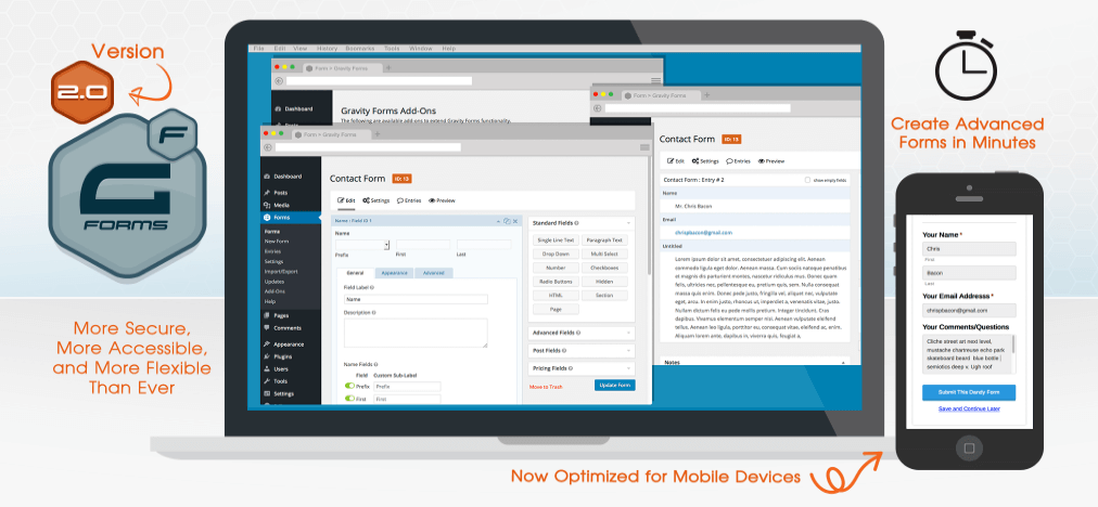 Gravity Forms Contact Form Builder and Lead Data Management Plugin For WordPress
