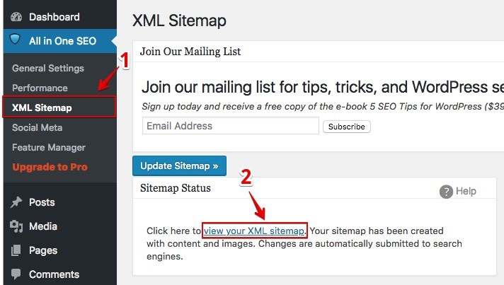 all in one SEO plugin - sitemap