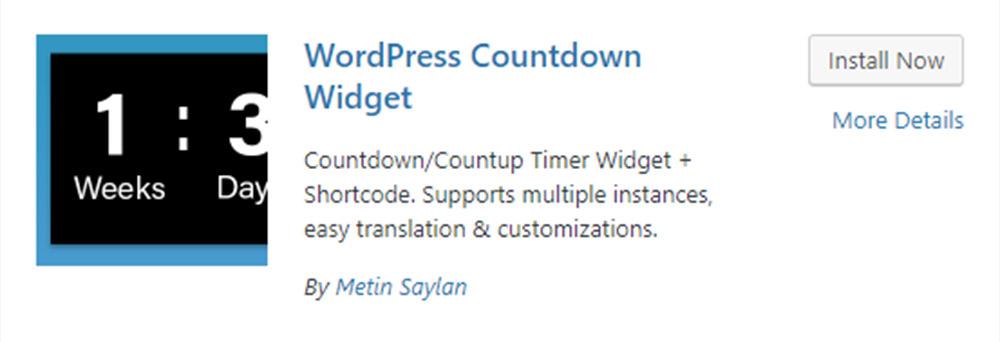 WordPress Countdown Widget