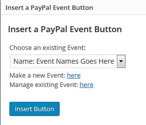 The interface for inserting a PayPal event button