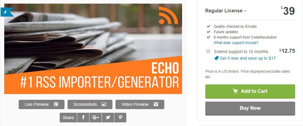 Echo RSS Feed Post Generator Plugin for WordPress