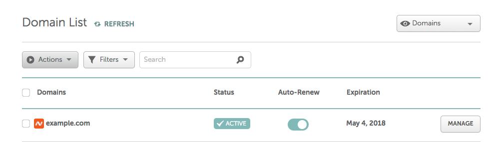 Namecheap domain dashboard entry