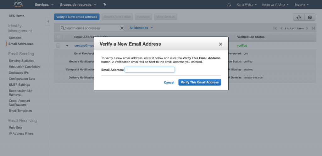 Verify a new mail address