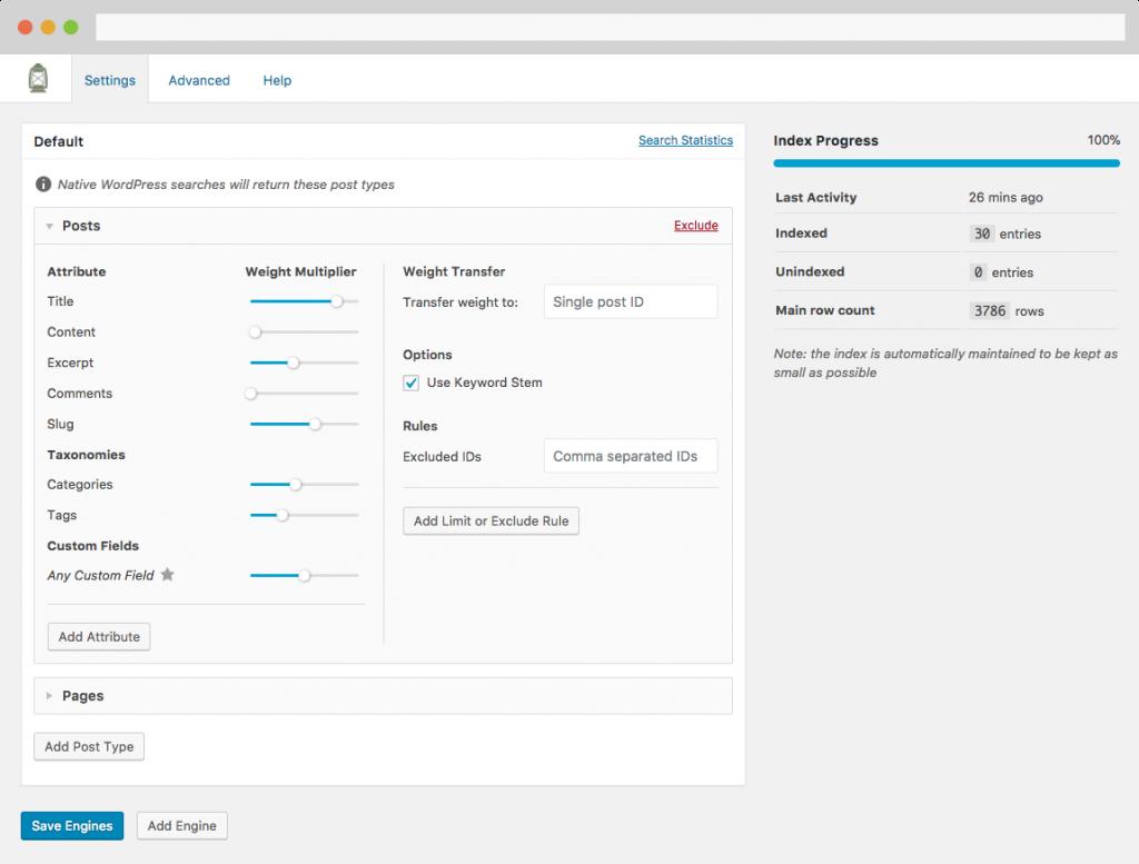 SearchWP plugin settings