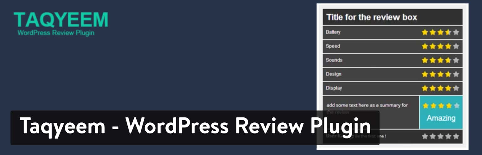 Best WordPress Review Plugins: Taqyeem