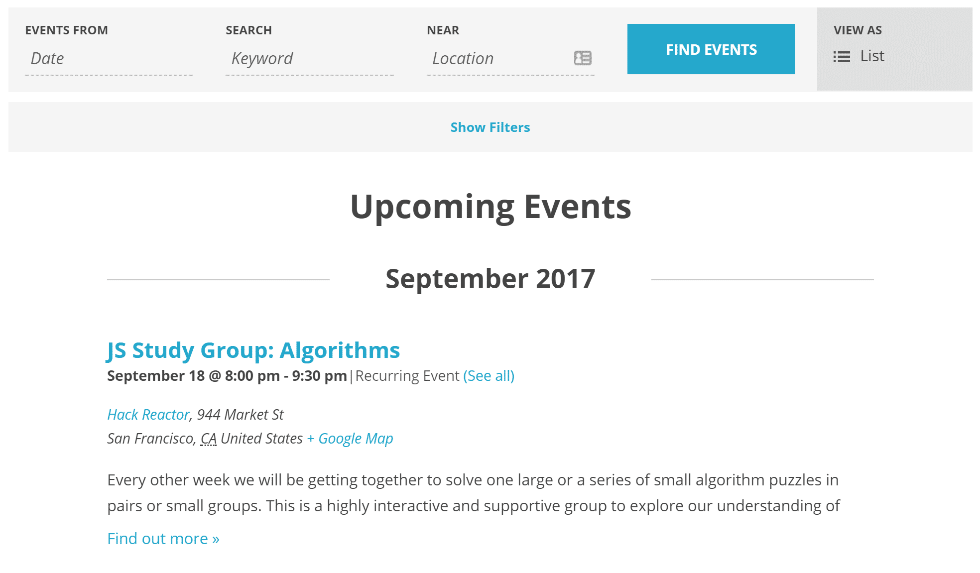 Example Event Details