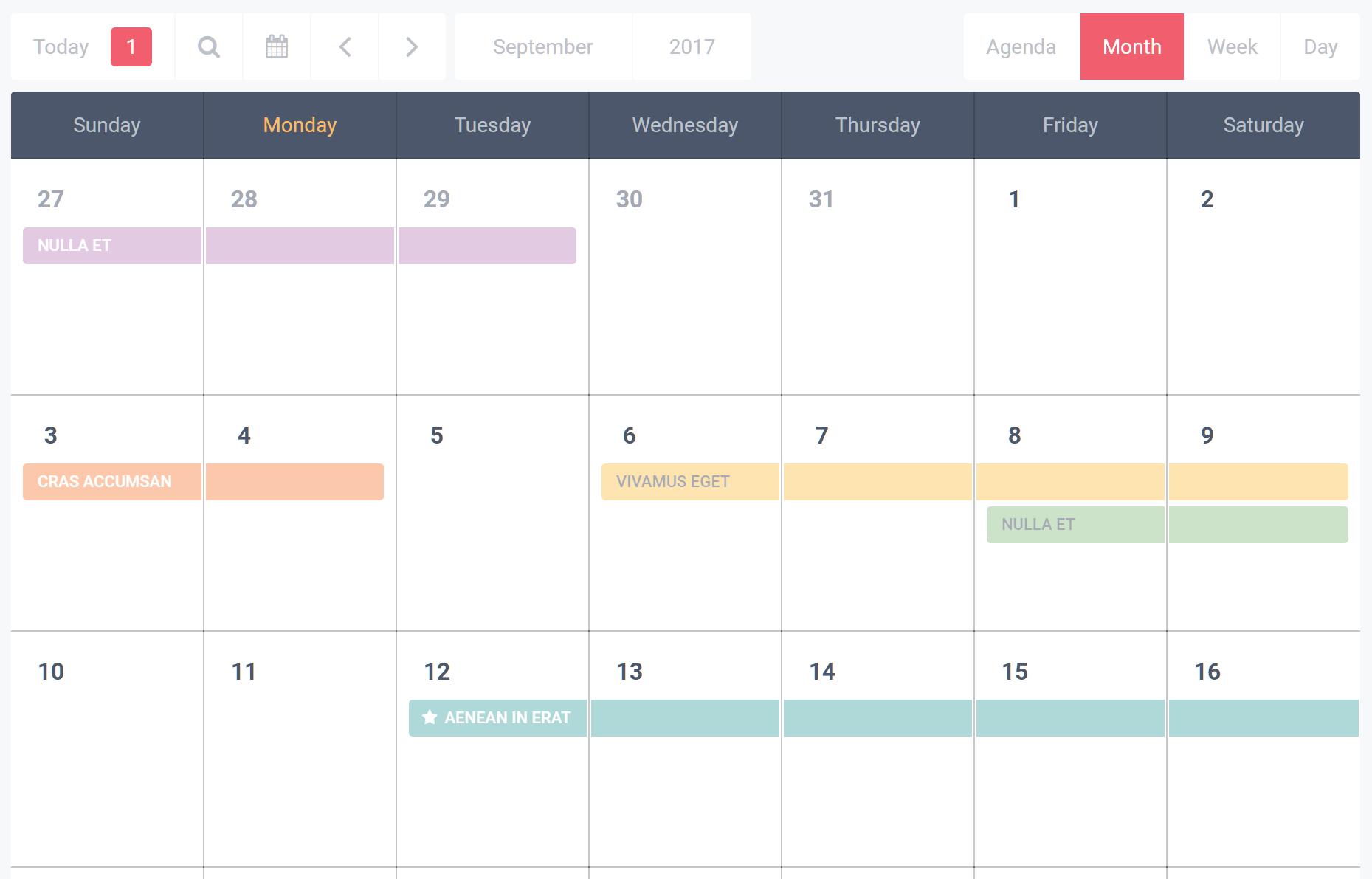 Calendar Month View