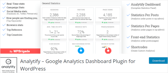 Analytify best google analytics WordPress plugin